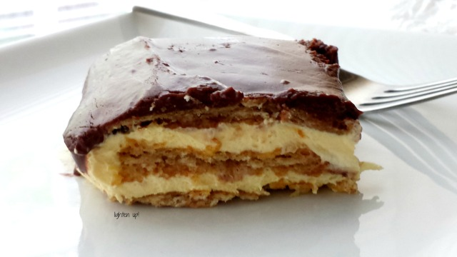 lightened-up no-bake chocolate eclair cake
