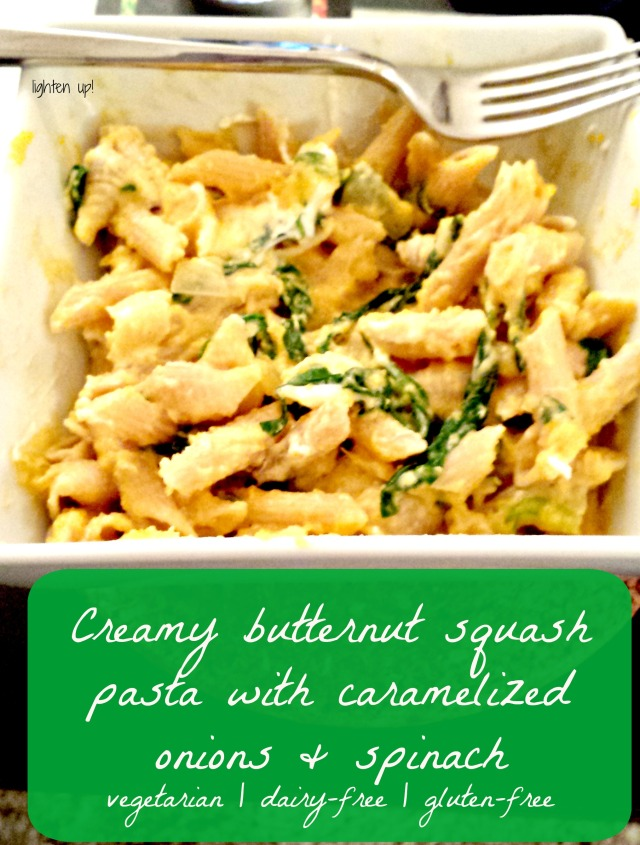 creamy butternut squash pasta with caramelized onions and spinach